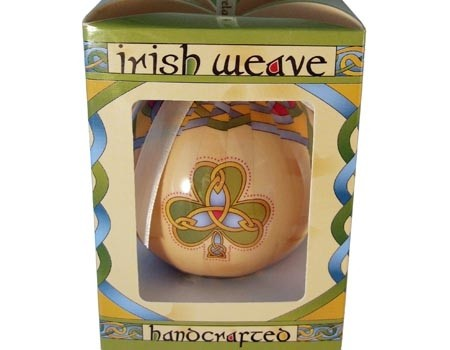 Irish Shamrock Weave Christmas Ornament Bauble