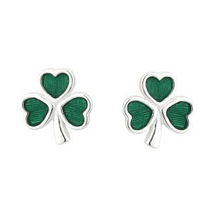 Irish Shamrock Earrings Sterling Silver Green Enamel