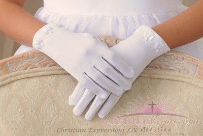 Irish Claddagh First Communion Gloves for Girls
