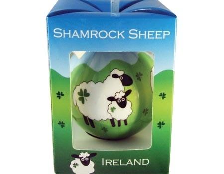 Irish Shamrocks & Sheep Christmas Ornament Bauble