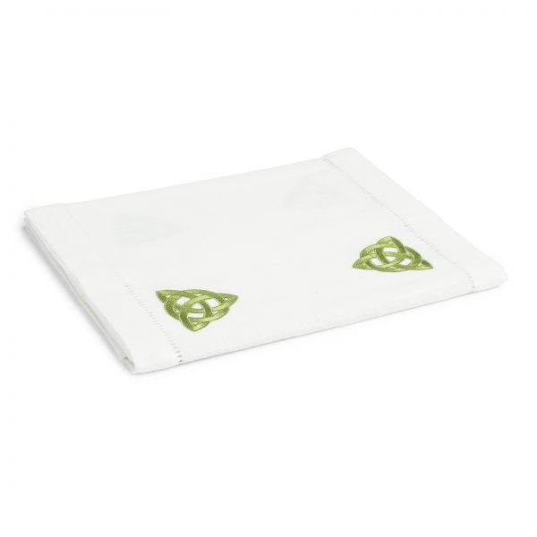 Irish Table Runner with Embroidered Trinity Knot