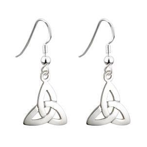 Irish Trinity Knot Drop Earrings Sterling Silver