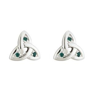 Irish Trinity Knot Earrings Post 14k White Gold