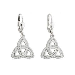 Irish Trinity Knot Earrings Sterling Silver CZ