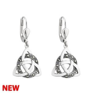 Irish Trinity Knot Marcasite Sterling Silver Drop Earrings