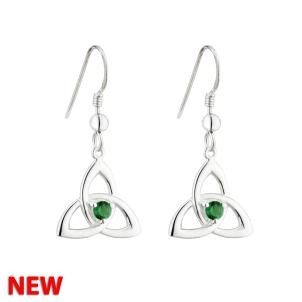 Irish Trinity Knot Sterling Silver Green Crystal Accent Sterling Silver