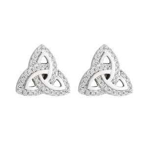 Irish Trinity Knot Stud Earrings Sterling Silver CZ