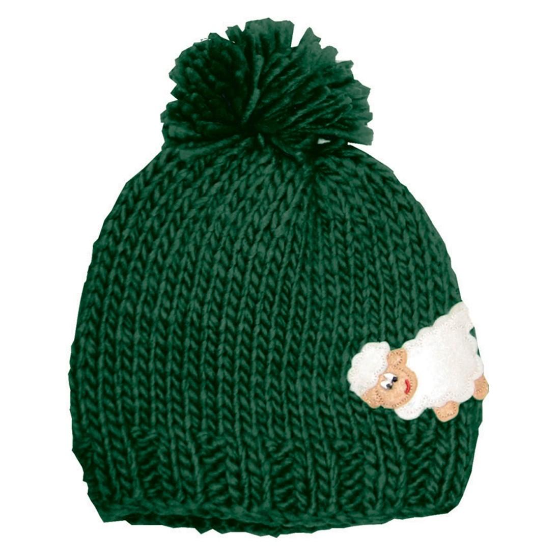 Kids Green Irish Knit Hat with Sheep