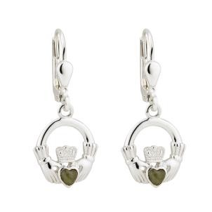 Large Irish Claddagh Earrings Marble Sterling Silver