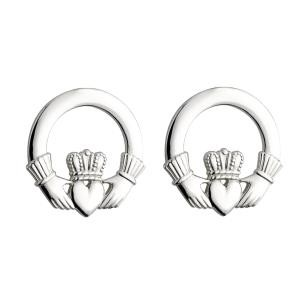 Large Irish Claddagh Post Earrings Sterling Silver