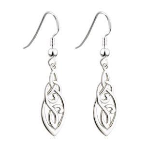 Long Irish Trinity Knot Earrings Sterling Silver