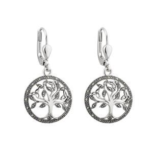 Marcasite Tree of Life Irish Earrings Sterling Silver