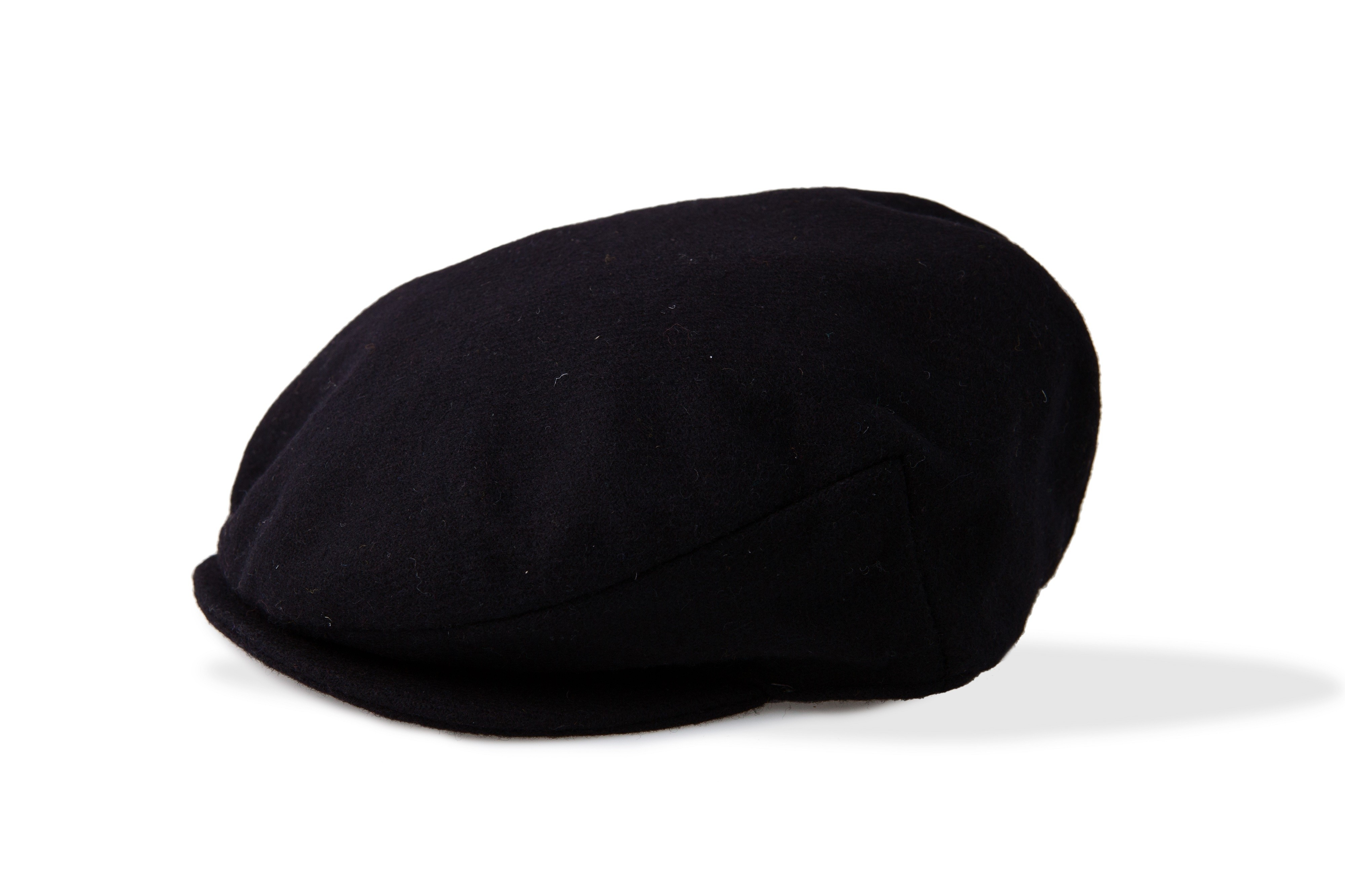 Black Wool Flat Cap for Men