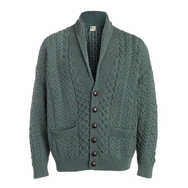 Men's Cable Button Shawl Collar Irish Cardigan
