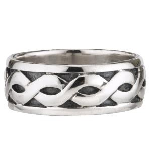 Mens Sterling Silver Wide Celtic Irish Band