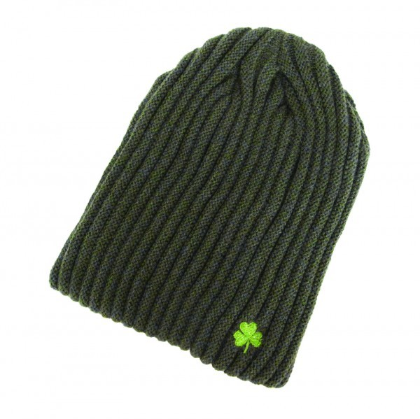 Ribknit Olive Green  Beanie Hat with Shamrock