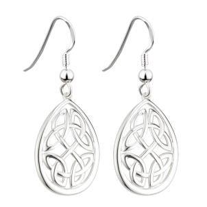 Oval Irish Celtic Knot Earrings Sterling Silver