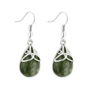 Oval Trinity Knot Drop Earrings with Marble