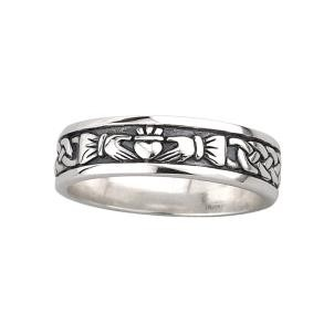 Oxidized Sterling Silver Ladies Irish Claddagh Ring