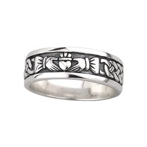 Oxidized Sterling Silver Mens Irish Claddagh Ring
