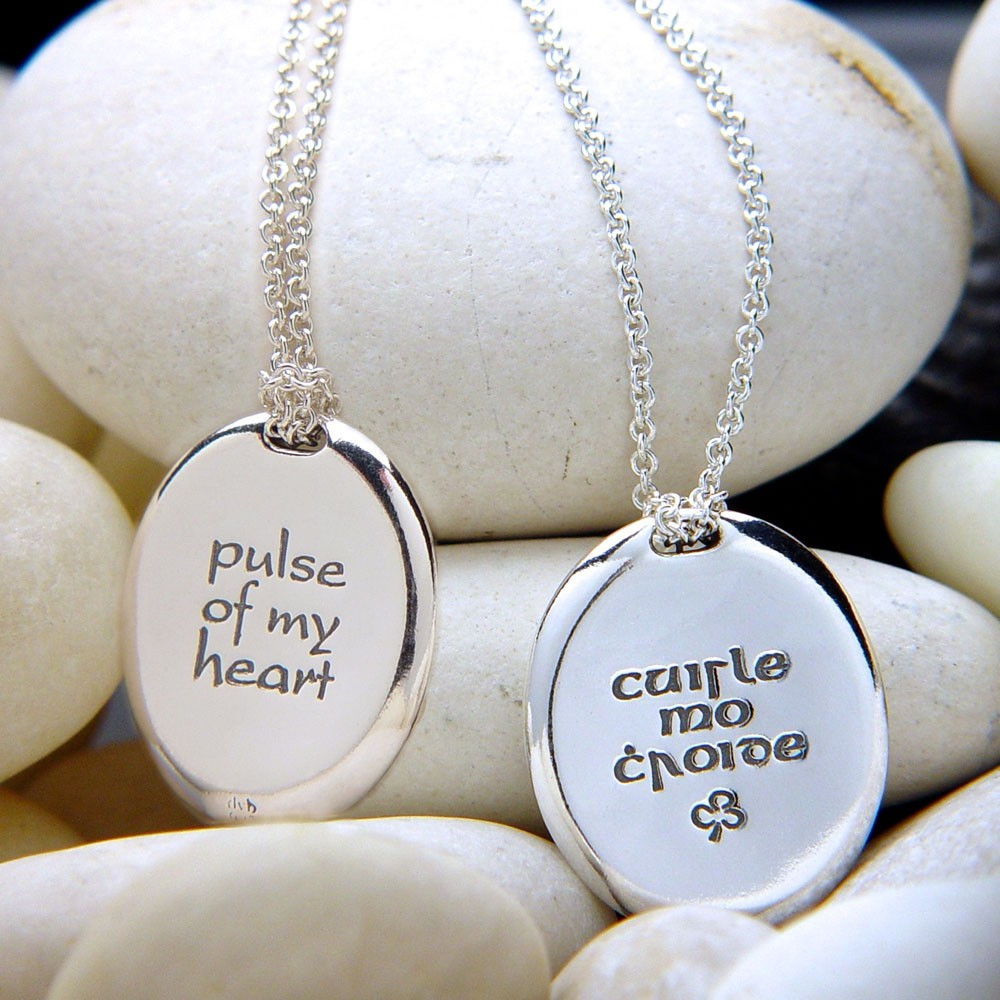Pulse of My Heart Irish Gaelic Sterling Silver Pendant