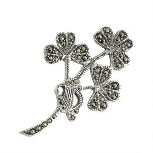 Silver Shamrock Spray Brooch With Marcasite