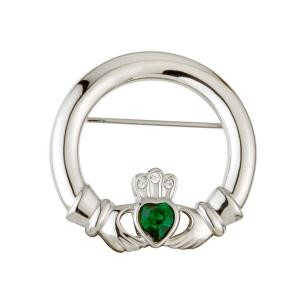 Silver Claddagh Brooch With Stones