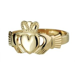14k Gold Heavy Ladies Claddagh Ring