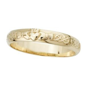 14k Gold Ladies Narrow Claddagh Wedding Band