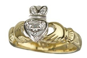 18K Diamond Set Claddagh Engagement Ring