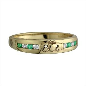 10k Gold Emerald/CZ Claddagh Band