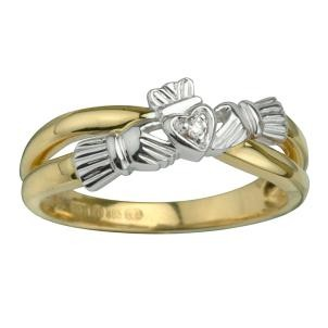 14k Gold Diamond Claddagh Crossover Ring