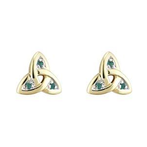 14k Yellow Gold Trinity Knot Post Irish Earrings
