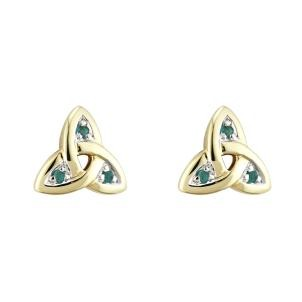 14k Gold and Emerald Trinity Knot Stud Earrings