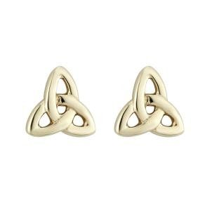 14k Yellow Gold Trinity Knot Post Earrings Tiny