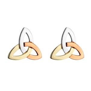 14k Gold 3 Color Trinity Knot Stud Earrings