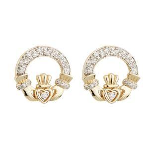 14K Gold Diamond Claddagh Earrings