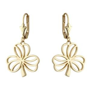 14k Gold Open Shamrock Drop Earrings