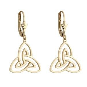 14k Gold Open Trinity Knot Drop Earrings