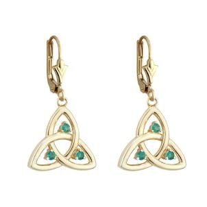 14k Gold Emerald Open Trinity Knot Drop Earrings
