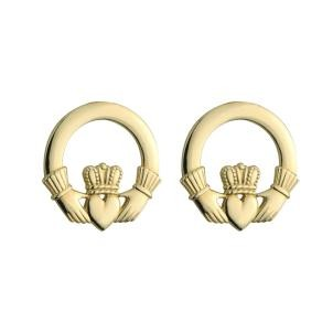 14k Gold Classic Claddagh Stud Earrings