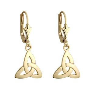 14k Gold Trinity Knot Drop Earrings
