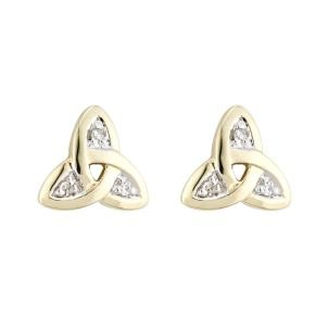 14k Gold and Diamonds Trinity Knot Stud Earrings