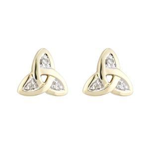 14k Gold and Diamonds Trinity Knot Stud Earrings