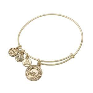 Irish Claddagh Charm Bangle Bracelet Gold Tone