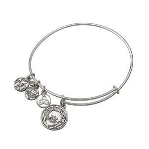 Irish Claddagh Charm Bangle Bracelet Silver Tone