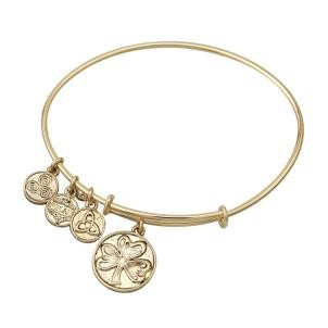 Irish Shamrock Charm Bangle Bracelet Gold Tone