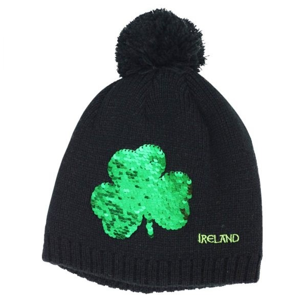 Sequined Shamrock Kids Black Irish Winter Hat
