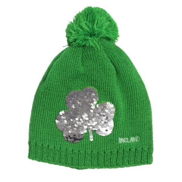 Sequined Shamrock Kids Green Irish Winter Hat