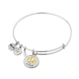 Shamrock Two Tone Sterling Silver Bangle Bracelet